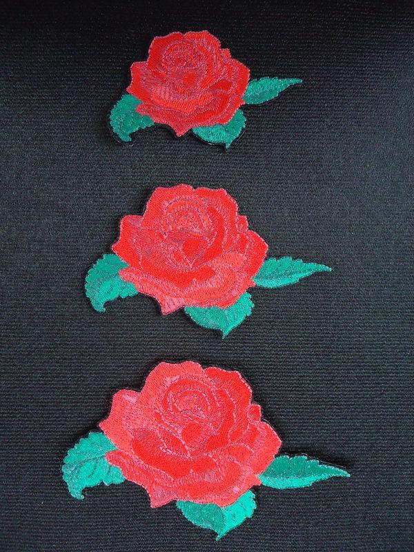 赤薔薇刺しゅうワッペン〔小〕¥1200+税〔中〕¥1600+税〔大〕¥2300+税