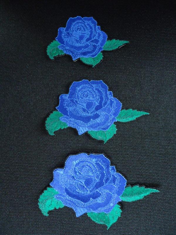 青薔薇刺しゅうワッペン〔小〕¥1200+税〔中〕¥1600+税〔大〕¥2300+税